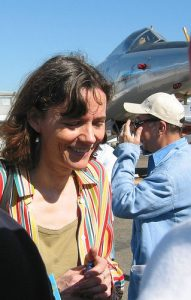 "Taken in June 2005 shortly after her release, French hostage Florence Aubenas visited the Paris Airshow with her ""prison roomate"" Hussein Hanoun, a former jet pilot in the Iraqi army.  Photo courtesy of Pierre Metivier/Flikr"